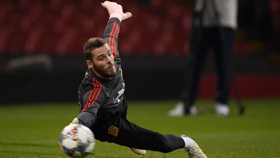 CARDIFF, WALES - OCTOBER 10:  David de Gea of Spain in action during a Spain training session while under the closed roof at Principality Stadium on October 10, 2018 in Cardiff, Wales.  (Photo by Stu Forster/Getty Images)
