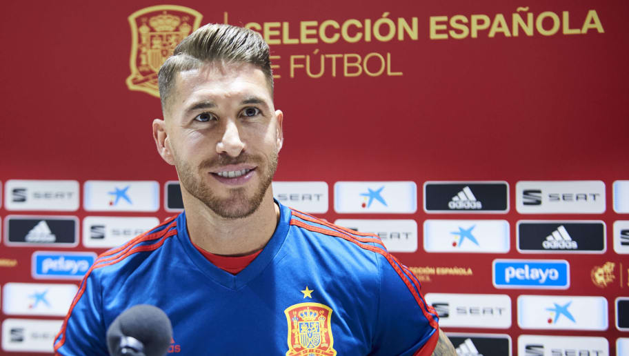 SEVILLE, SPAIN - OCTOBER 14:  Sergio Ramos of Spain reacts during the Spain Press Conference at Estadio Benito Villamarin on October 14, 2018 in Seville, Spain.  (Photo by Aitor Alcalde/Getty Images)
