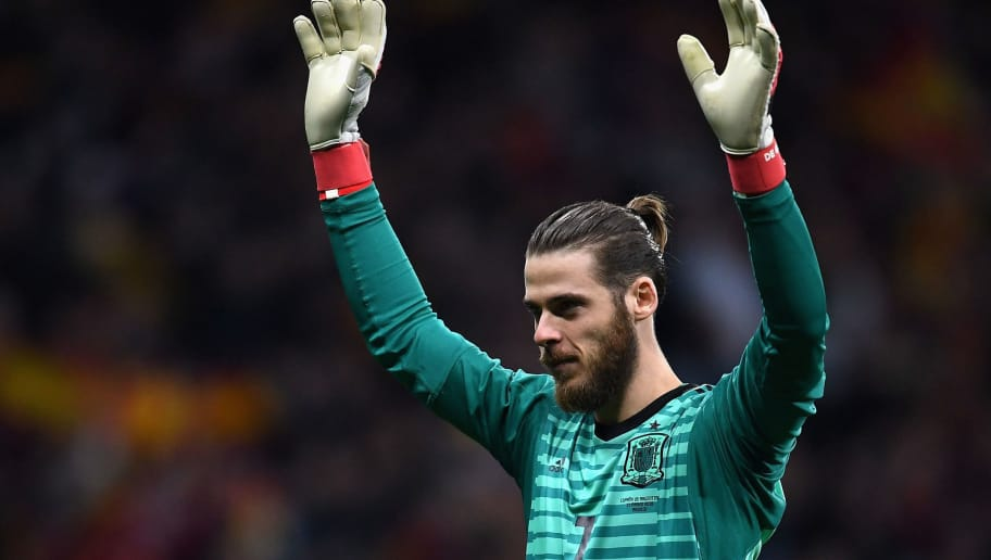 MADRID, SPAIN - MARCH 27:  David De Gea of Spain celebrates after his sides fourth goal during the International Friendly between Spain and Argentina on March 27, 2018 in Madrid, Spain.  (Photo by David Ramos/Getty Images)