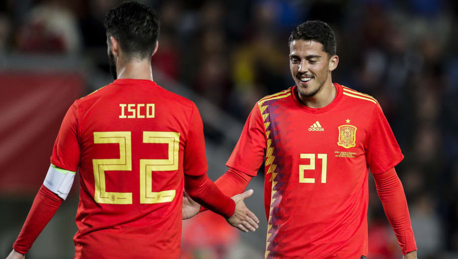 LAS PALMAS DE GRAN CANARIA, SPAIN - NOVEMBER 18: Isco of Spain, Pablo Fornals of Spain during the  UEFA Nations league match between Spain  v Bosnia and Herzegovina  at the Estadio de Gran Canaria on November 18, 2018 in Las Palmas de Gran Canaria Spain (Photo by David S. Bustamante/Soccrates /Getty Images)