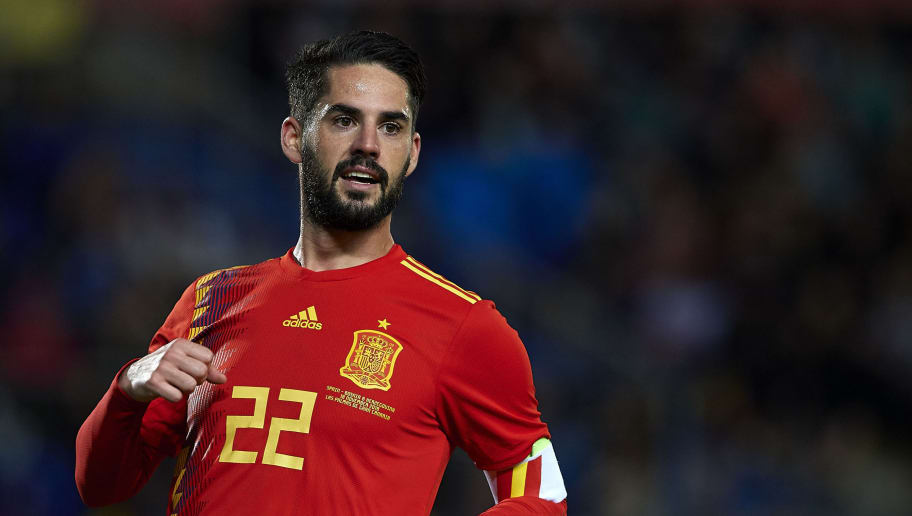 LAS PALMAS DE GRAN CANARIA, SPAIN - NOVEMBER 18:  Isco Alarcon of Spain looks on during the international friendly match between Spain and Bosnia & Herzegovina at Estadio de Gran Canaria on November 18, 2018 in Las Palmas de Gran Canaria, Spain.  (Photo by Quality Sport Images/Getty Images)