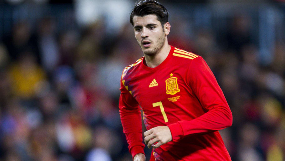 MALAGA, SPAIN - NOVEMBER 11: Alvaro Morata of Spain reacts during the international friendly match between Spain and Costa Rica at La Rosaleda Stadium on November 11, 2017 in Malaga, Spain. (Photo by Aitor Alcalde/Getty Images)