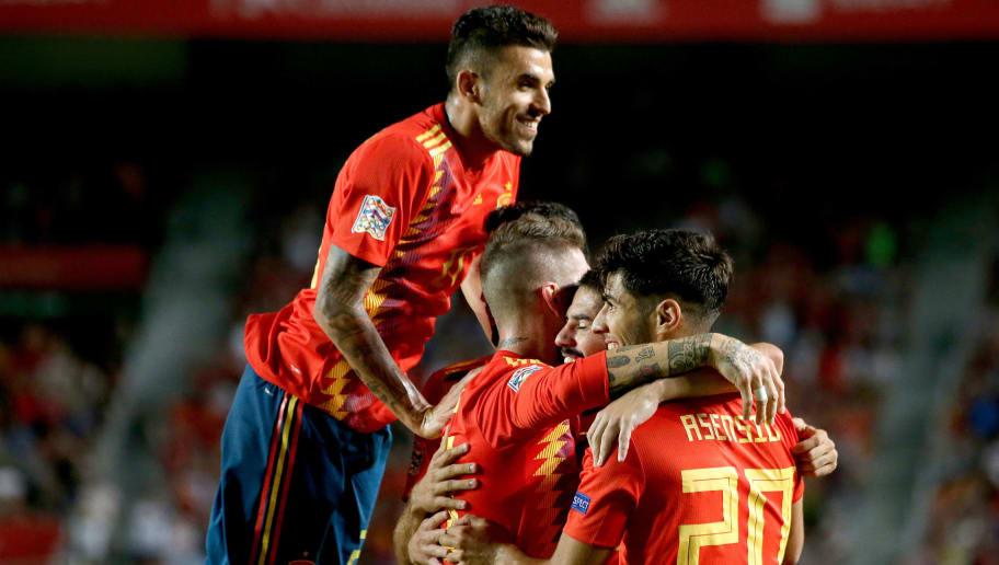 ELCHE, SPAIN - SEPTEMBER 11: Sergio Ramos of Spain celebrates 5-0 with Suso of Spain, Marco Asensio of Spain  during the  UEFA Nations league match between Spain  v Croatia  at the Estadio Manuel Martínez Valero on September 11, 2018 in Elche Spain (Photo by Laurens Lindhout/Soccrates/Getty Images)