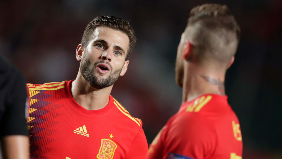 ELCHE, SPAIN - SEPTEMBER 11: (L-R) Nacho of Spain, Sergio Ramos of Spain during the  UEFA Nations league match between Spain  v Croatia  at the Estadio Manuel Martínez Valero on September 11, 2018 in Elche Spain (Photo by Laurens Lindhout/Soccrates/Getty Images)