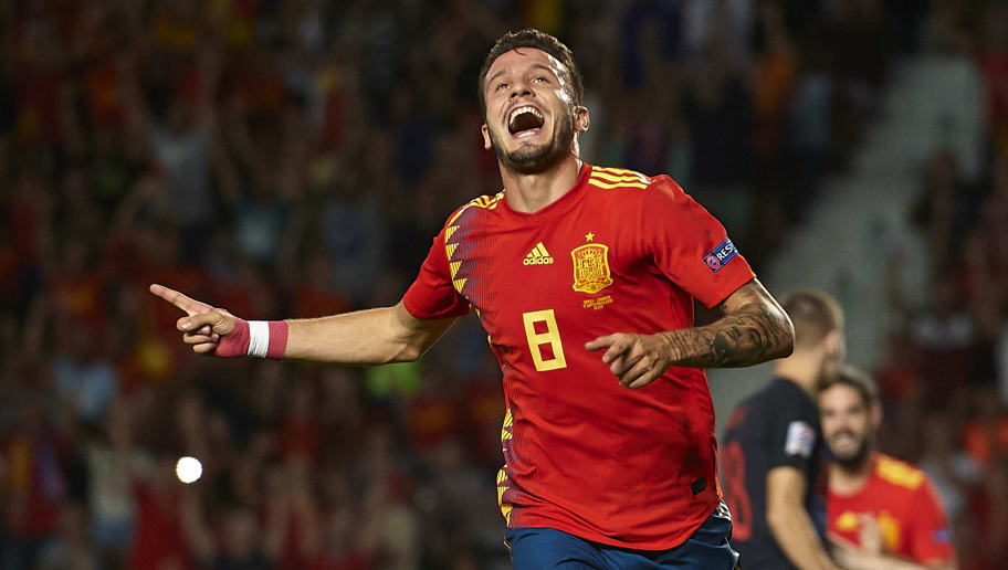 ALICANTE, SPAIN - SEPTEMBER 11:  Saul Niguez of Spain celebrates after scoring his sides first goal during the UEFA Nations League A group four match between Spain and Croatia at Manuel Martinez Valero Stadium on September 11, 2018 in Alicante, Spain.  (Photo by Quality Sport Images/Getty Images)