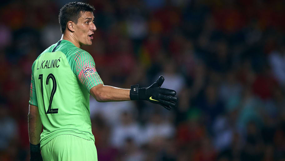 ALICANTE, SPAIN - SEPTEMBER 11:  Lovre Kalinic of Croatia reacts during the UEFA Nations League A group four match between Spain and Croatia on  September 11, 2018 in Alicante, Spain.  (Photo by Quality Sport Images/Getty Images)