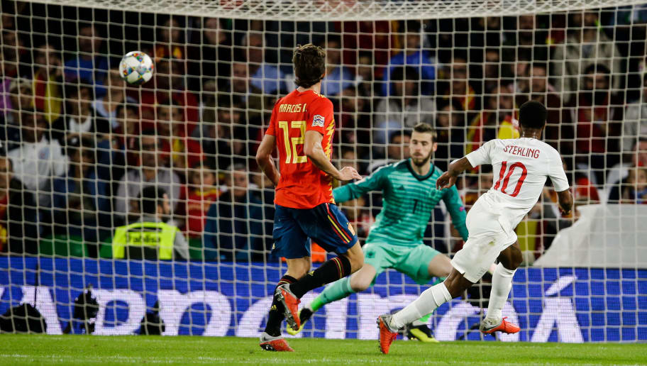 SEVILLA, SPAIN - OCTOBER 15: Raheem Sterling of England, scores the first goal to make it 0-1 during the  UEFA Nations league match between Spain  v England  at the Estadio Benito Villamarin on October 15, 2018 in Sevilla Spain (Photo by Eric Verhoeven/Soccrates/Getty Images)