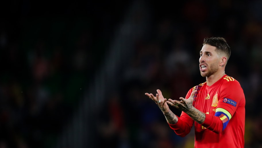 SEVILLA, SPAIN - OCTOBER 15: Sergio Ramos of Spain during the  UEFA Nations league match between Spain  v England  at the Estadio Benito Villamarin on October 15, 2018 in Sevilla Spain (Photo by David S. Bustamante/Soccrates/Getty Images)