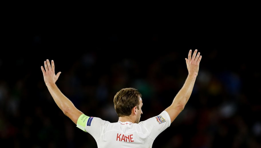 SEVILLA, SPAIN - OCTOBER 15: Harry Kane of England during the  UEFA Nations league match between Spain  v England  at the Estadio Benito Villamarin on October 15, 2018 in Sevilla Spain (Photo by Eric Verhoeven/Soccrates/Getty Images)
