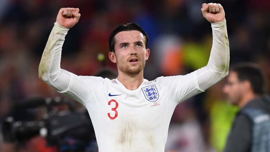 SEVILLE, SPAIN - OCTOBER 15: Ben Chilwell of England celebrates victory after the UEFA Nations League A Group Four match between Spain and England at Estadio Benito Villamarin on October 15, 2018 in Seville, Spain.  (Photo by Michael Regan/Getty Images)
