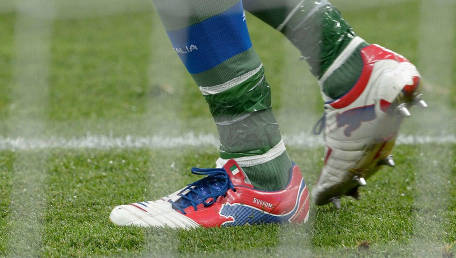 KIEV, UKRAINE - JULY 01:  Detailed view of the boots of Gianluigi Buffon of Italy looks on prior to the UEFA EURO 2012 final match between Spain and Italy at the Olympic Stadium on July 1, 2012 in Kiev, Ukraine.  (Photo by Claudio Villa/Getty Images)