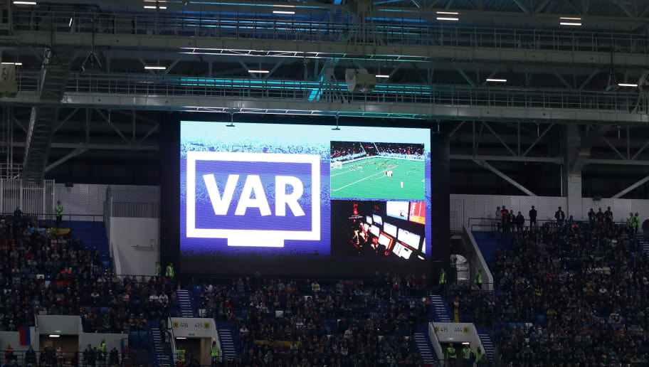 KALININGRAD, RUSSIA - JUNE 25:  General view inside the stadium as the big screen informs fans of a VAR review happening regarding Iago Aspas of Spain's goal during the 2018 FIFA World Cup Russia group B match between Spain and Morocco at Kaliningrad Stadium on June 25, 2018 in Kaliningrad, Russia.  (Photo by Julian Finney/Getty Images)