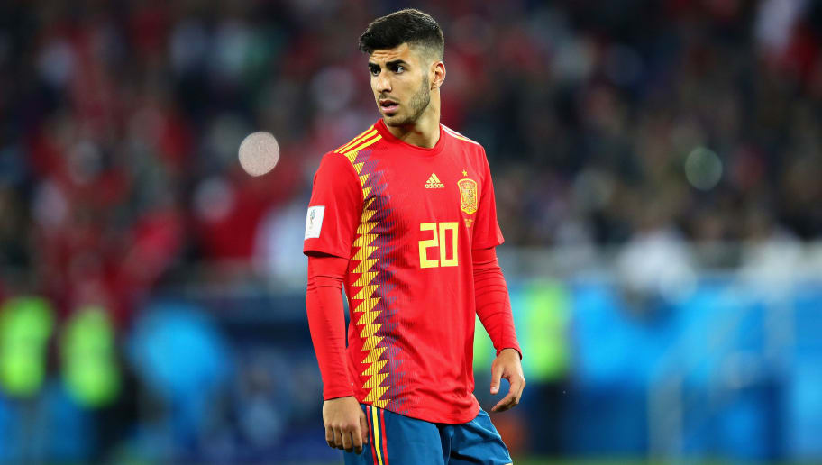 KALININGRAD, RUSSIA - JUNE 25:  Marco Asensio of Spain in action during the 2018 FIFA World Cup Russia group B match between Spain and Morocco at Kaliningrad Stadium on June 25, 2018 in Kaliningrad, Russia.  (Photo by Chris Brunskill/Fantasista/Getty Images)