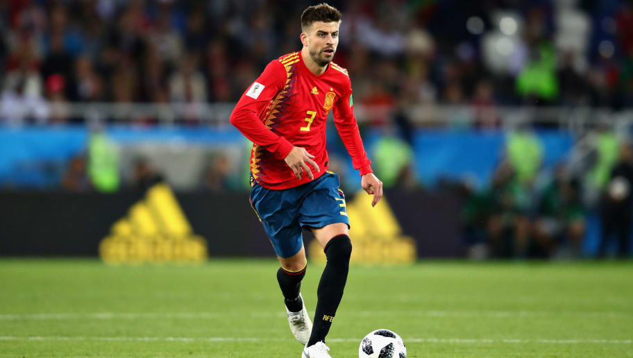 KALININGRAD, RUSSIA - JUNE 25:  Gerard Pique of Spain in action during the 2018 FIFA World Cup Russia group B match between Spain and Morocco at Kaliningrad Stadium on June 25, 2018 in Kaliningrad, Russia.  (Photo by Chris Brunskill/Fantasista/Getty Images)