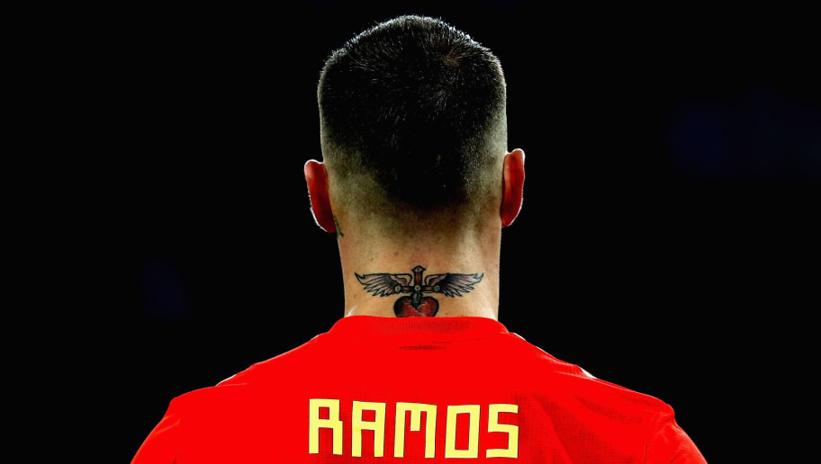 KALININGRAD, RUSSIA - JUNE 25:  Sergio Ramos of Spain's tattoo is seen on his neck during the 2018 FIFA World Cup Russia group B match between Spain and Morocco at Kaliningrad Stadium on June 25, 2018 in Kaliningrad, Russia.  (Photo by Francois Nel/Getty Images)
