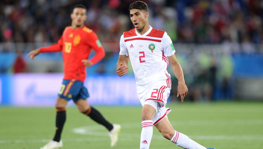 KALININGRAD, RUSSIA - JUNE 25: Achraf Hakimi of Morocco in action during the 2018 FIFA World Cup Russia group B match between Spain and Morocco at Kaliningrad Stadium on June 25, 2018 in Kaliningrad, Russia. (Photo by Norbert Barczyk/PressFocus/MB Media/Getty Images)
