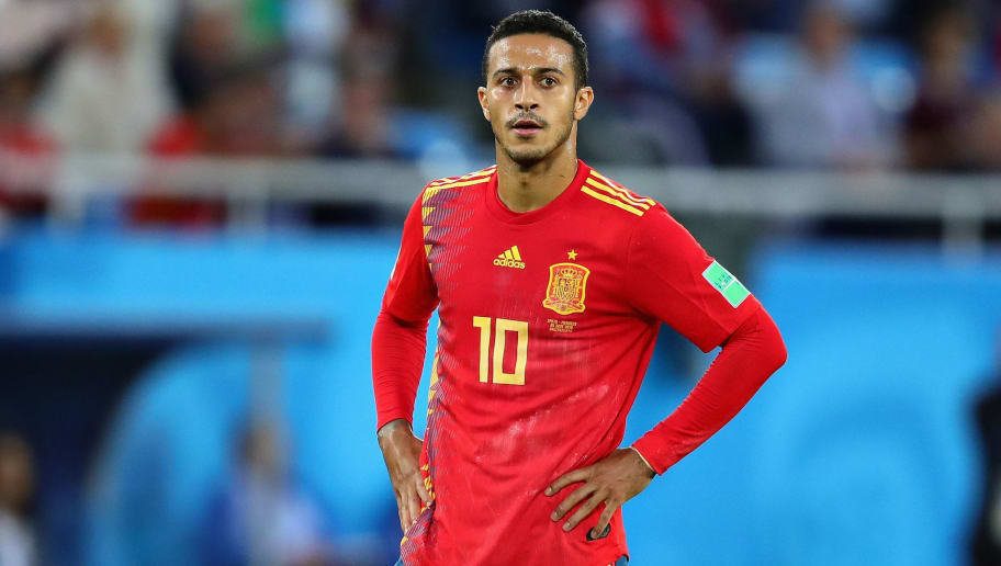 KALININGRAD, RUSSIA - JUNE 25: Thiago of Spain looks on during the 2018 FIFA World Cup Russia group B match between Spain and Morocco at Kaliningrad Stadium on June 25, 2018 in Kaliningrad, Russia.  (Photo by Chris Brunskill/Fantasista/Getty Images)