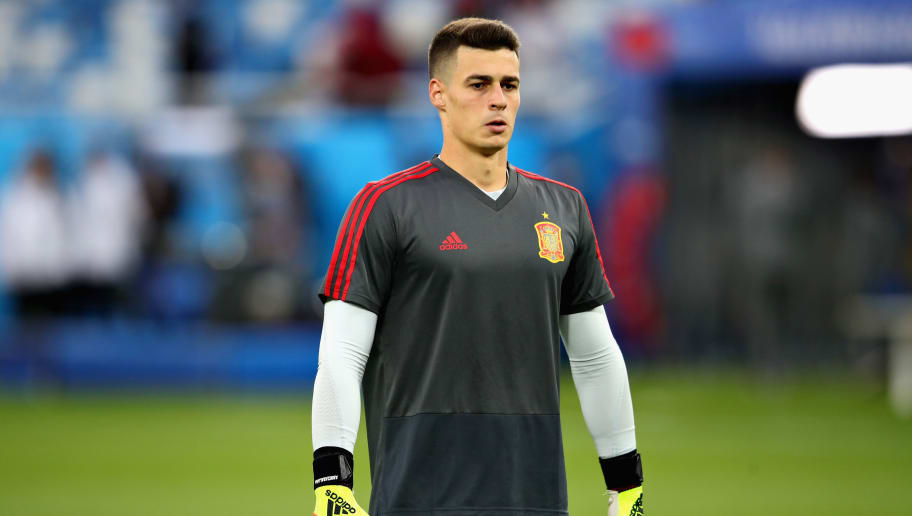 KALININGRAD, RUSSIA - JUNE 25: Kepa Arrizabalanga of Spain prepares before the 2018 FIFA World Cup Russia group B match between Spain and Morocco at Kaliningrad Stadium on June 25, 2018 in Kaliningrad, Russia.  (Photo by Chris Brunskill/Fantasista/Getty Images)
