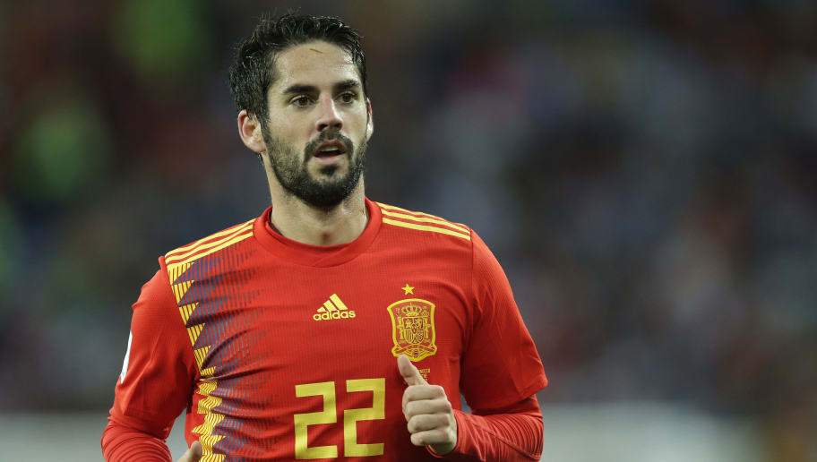 KALININGRAD, RUSSIA - JUNE 25: Isco of Spain  during the  World Cup match between Spain  v Morocco  at the Kaliningrad Stadium on June 25, 2018 in Kaliningrad Russia (Photo by Peter Lous/Soccrates/Getty Images)