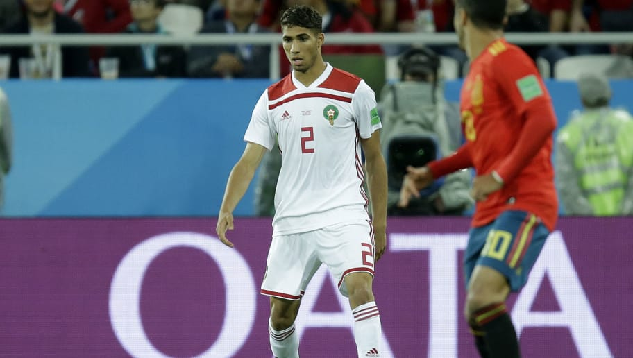KALININGRAD, RUSSIA - JUNE 25: Achraf Hakimi of Morocco  during the  World Cup match between Spain  v Morocco  at the Kaliningrad Stadium on June 25, 2018 in Kaliningrad Russia (Photo by Peter Lous/Soccrates/Getty Images)