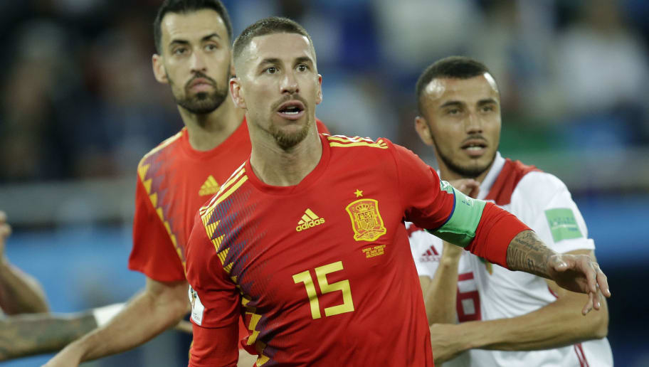 KALININGRAD, RUSSIA - JUNE 25: Sergio Ramos of Spain  during the  World Cup match between Spain  v Morocco  at the Kaliningrad Stadium on June 25, 2018 in Kaliningrad Russia (Photo by Peter Lous/Soccrates/Getty Images)