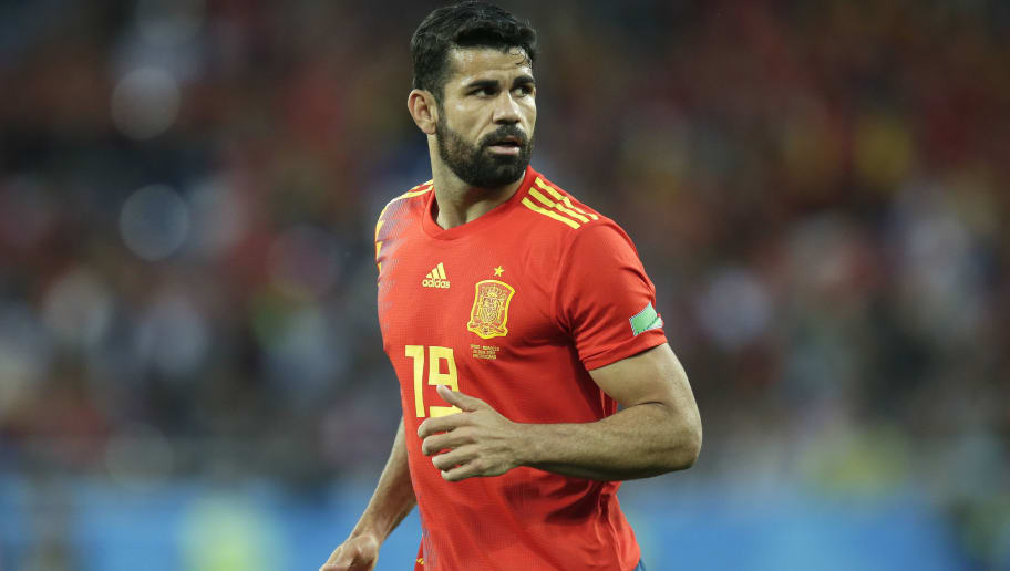 KALININGRAD, RUSSIA - JUNE 25: Diego Costa of Spain  during the  World Cup match between Spain  v Morocco  at the Kaliningrad Stadium on June 25, 2018 in Kaliningrad Russia (Photo by Peter Lous/Soccrates/Getty Images)