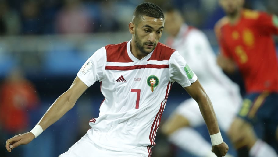 KALININGRAD, RUSSIA - JUNE 25: Hakim Ziyech of Morocco  during the  World Cup match between Spain  v Morocco  at the Kaliningrad Stadium on June 25, 2018 in Kaliningrad Russia (Photo by Peter Lous/Soccrates/Getty Images)
