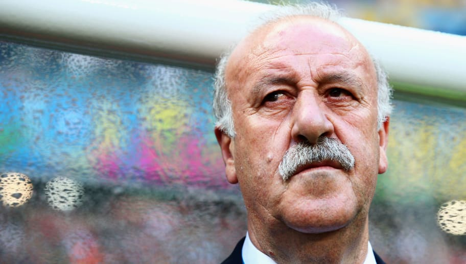 SALVADOR, BRAZIL - JUNE 13:  Head coach Vicente Del Bosque of Spain looks on prior to the 2014 FIFA World Cup Brazil Group B match between Spain and Netherlands at Arena Fonte Nova on June 13, 2014 in Salvador, Brazil.  (Photo by Dean Mouhtaropoulos/Getty Images)