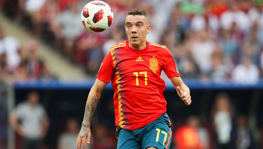 MOSCOW, RUSSIA - JULY 01:  Iago Aspas of Spain in action during the 2018 FIFA World Cup Russia Round of 16 match between Spain and Russia at Luzhniki Stadium on July 1, 2018 in Moscow, Russia. (Photo by Matthew Ashton - AMA/Getty Images)