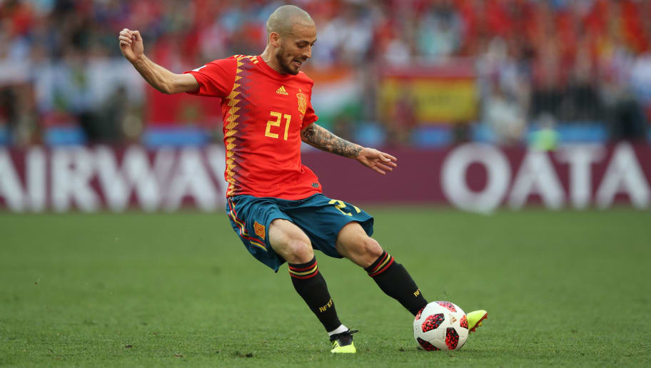 MOSCOW, RUSSIA - JULY 01:  David Silva of Spain controls the ball during the 2018 FIFA World Cup Russia Round of 16 match between Spain and Russia at Luzhniki Stadium on July 1, 2018 in Moscow, Russia. (Photo by Ian MacNicol/Getty Images)