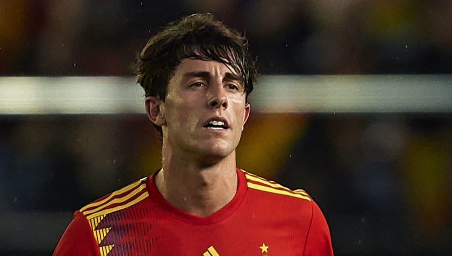 VILLAREAL, SPAIN - JUNE 03:  Alvaro Odriozola of Spain celebrates after scoring his sides first goal during the International Friendly match between Spain and Switzerland at Estadio de La Ceramica on June 3, 2018 in Villareal, Spain.  (Photo by Manuel Queimadelos Alonso/Getty Images)