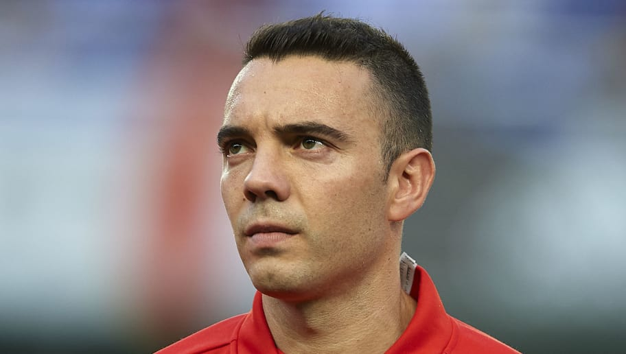 VILLAREAL, SPAIN - JUNE 03: Iago Aspas of Spain looks on prior to the International Friendly match between Spain and Switzerland at Estadio de La Ceramica on June 3, 2018 in Villareal, Spain. (Photo by Manuel Queimadelos Alonso/Getty Images)