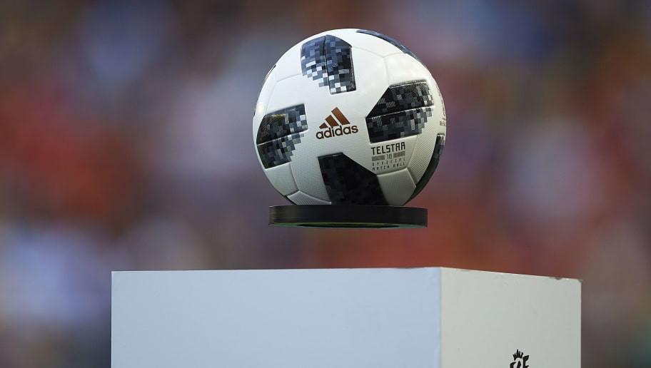 VILLAREAL, SPAIN - JUNE 03: The official match ball Telstra for the FIFA World Cup 2018 Russia seen during the International Friendly match between Spain and Switzerland at Estadio de La Ceramica on June 3, 2018 in Villareal, Spain. (Photo by Manuel Queimadelos Alonso/Getty Images)