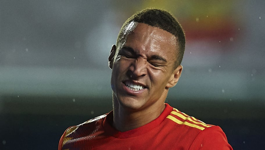 VILLAREAL, SPAIN - JUNE 03:  Rodrigo Moreno of Spain reacts during the International Friendly match between Spain and Switzerland at Estadio de La Ceramica on June 3, 2018 in Villareal, Spain.  (Photo by Manuel Queimadelos Alonso/Getty Images)