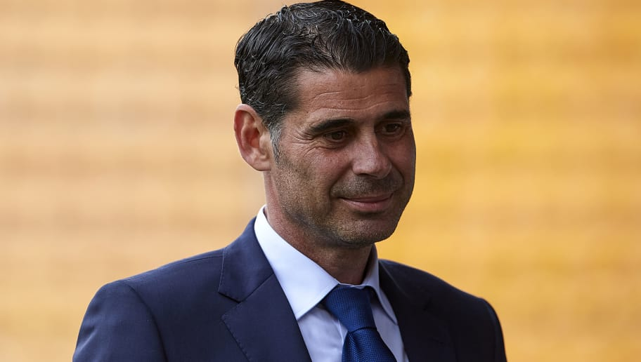 VILLAREAL, SPAIN - JUNE 03:  Fernando Hierro, sporting director of Spain looks on prior to the International Friendly match between Spain and Switzerland at Estadio de La Ceramica on June 3, 2018 in Villareal, Spain.  (Photo by Manuel Queimadelos Alonso/Getty Images)