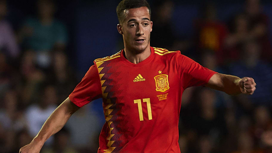 VILLAREAL, SPAIN - JUNE 03:  Lucas Vazquez of Spain in action during the International Friendly match between Spain and Switzerland at Estadio de La Ceramica on June 3, 2018 in Villareal, Spain.  (Photo by Manuel Queimadelos Alonso/Getty Images)