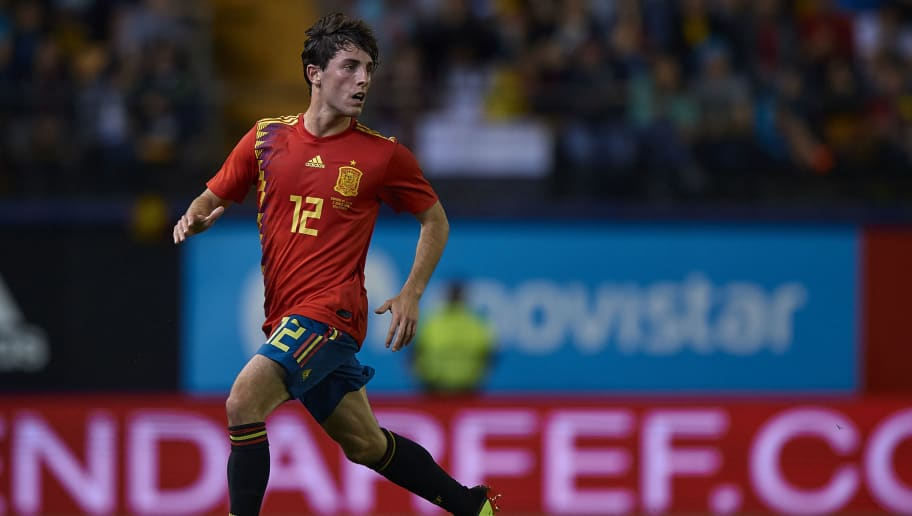VILLAREAL, SPAIN - JUNE 03:  Odriozola of Spain in action during the International Friendly match between Spain and Switzerland at Estadio de la Ceramica on June 3, 2018 in Villareal, Spain.  (Photo by Quality Sport Images/Getty Images)