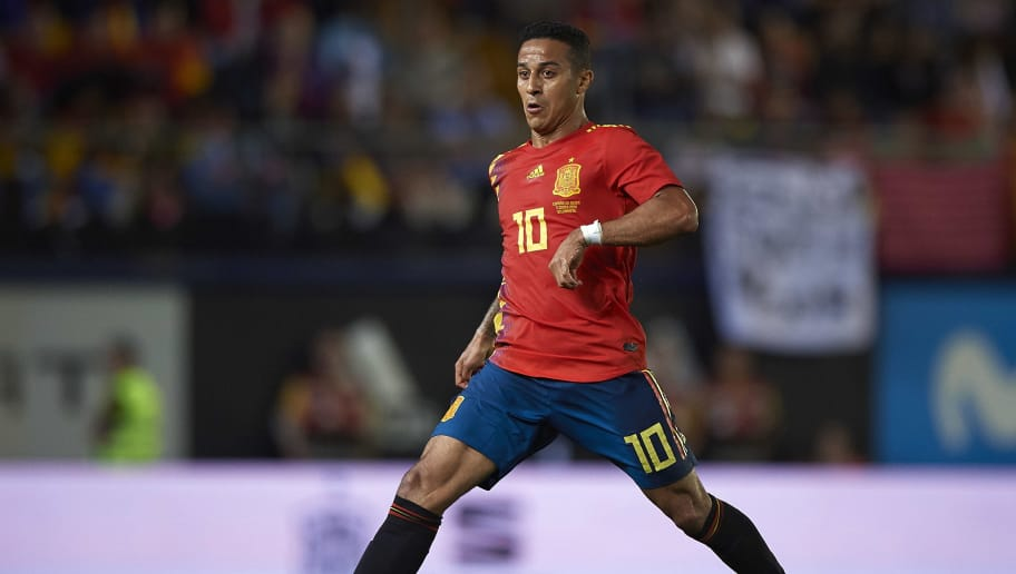 VILLAREAL, SPAIN - JUNE 03:  Thiago Alcantara of Spain in action during the International Friendly match between Spain and Switzerland at Estadio de la Ceramica on June 3, 2018 in Villareal, Spain.  (Photo by Quality Sport Images/Getty Images)