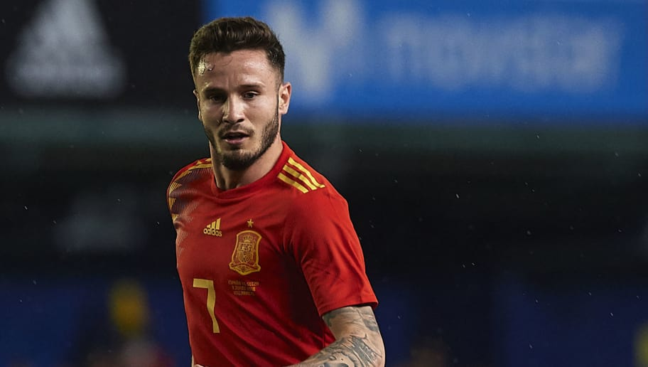 VILLAREAL, SPAIN - JUNE 03:  Saul Niguez of Spain in action during the International Friendly match between Spain and Switzerland at Estadio de La Ceramica on June 3, 2018 in Villareal, Spain.  (Photo by Manuel Queimadelos Alonso/Getty Images)