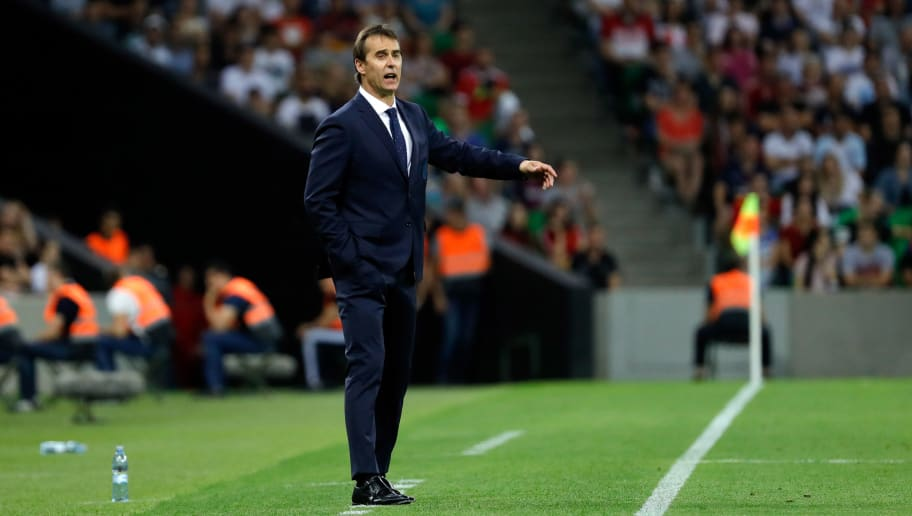 KRASNODAR, RUSSIA - JUNE 09: Head coach Julen Lopetegui of Spain gestures during the friendly match between Spain and Tunisia at Krasnodar's stadium on June 9, 2018 in Krasnodar, Russia. (Photo by TF-Images/Getty Images)