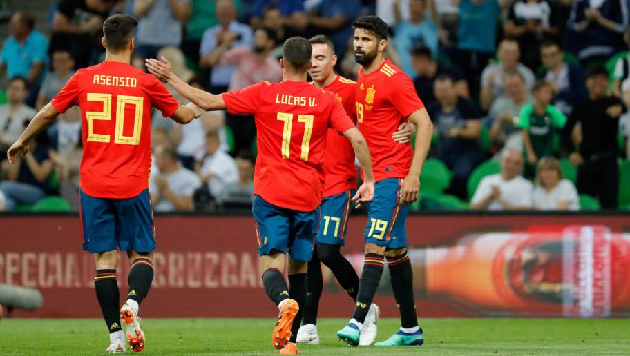 KRASNODAR, RUSSIA - JUNE 09: Iago Aspas of Spain celebrates after scoring his team`s first goal with team mates during the friendly match between Spain and Tunisia at Krasnodar's stadium on June 9, 2018 in Krasnodar, Russia. (Photo by TF-Images/Getty Images)