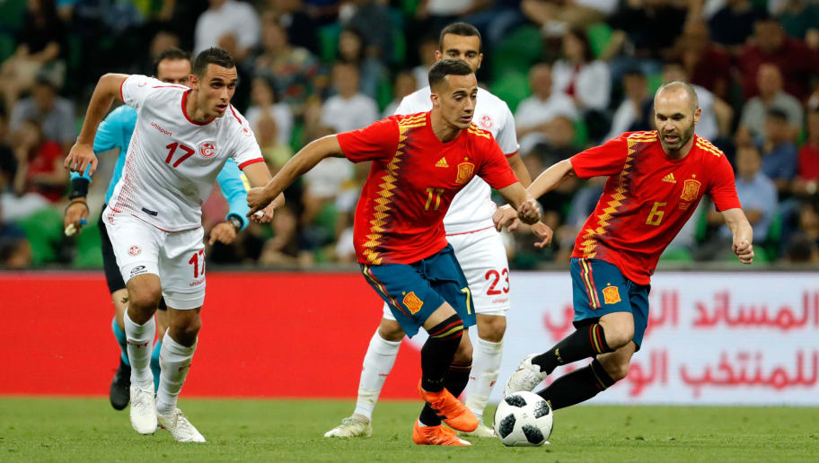 KRASNODAR, RUSSIA - JUNE 09: Lucas Vazquez of Spain and Andres Iniesta of Spain and Ellyes Skhiri of Tunisia battle for the ball during the friendly match between Spain and Tunisia at Krasnodar's stadium on June 9, 2018 in Krasnodar, Russia. (Photo by TF-Images/Getty Images)