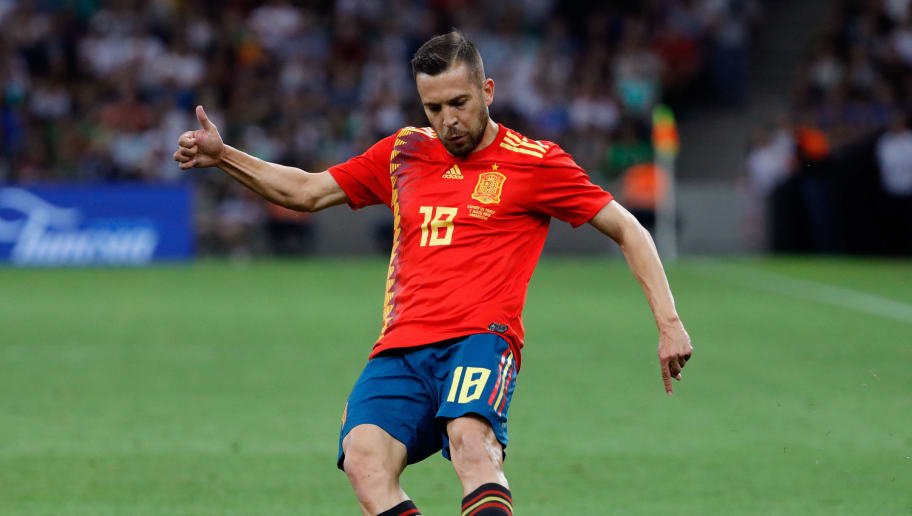 KRASNODAR, RUSSIA - JUNE 09: Jordi Alba of Spain controls the ball during the friendly match between Spain and Tunisia at Krasnodar's stadium on June 9, 2018 in Krasnodar, Russia. (Photo by TF-Images/Getty Images)