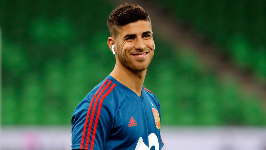 KRASNODAR, RUSSIA - JUNE 09: Marco Asensio of Spain laughs prior to the friendly match between Spain and Tunisia at Krasnodar's stadium on June 9, 2018 in Krasnodar, Russia. (Photo by TF-Images/Getty Images)