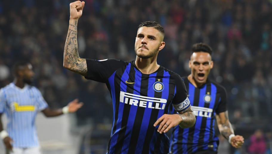 FERRARA, ITALY - OCTOBER 07:  Mauro Icardi of FC Internazionale celebrates after scoring his team second goal during the Serie A match between SPAL and FC Internazionale at Stadio Paolo Mazza on October 7, 2018 in Ferrara, Italy.  (Photo by Alessandro Sabattini/Getty Images)