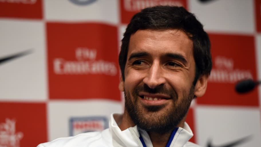 New York Cosmos player Raul Gonzalez Blanco during a press conference October 27, 2015 to announce his retirement at the end of the current season of the North American Soccer League.  / AFP PHOTO / TIMOTHY A. CLARY        (Photo credit should read TIMOTHY A. CLARY/AFP/Getty Images)
