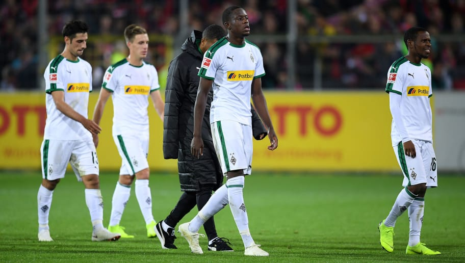 FREIBURG IM BREISGAU, GERMANY - OCTOBER 26: Denis Zakaria of Borussia Monchengladbach (c) leaves the field dejected following his side's defeat during the Bundesliga match between Sport-Club Freiburg and Borussia Moenchengladbach at Schwarzwald-Stadion on October 26, 2018 in Freiburg im Breisgau, Germany. (Photo by Matthias Hangst/Bongarts/Getty Images)