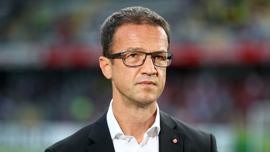 FREIBURG IM BREISGAU, GERMANY - AUGUST 20:  Fredi Bobic, CEO of Frankfurt looks on prior to the Bundesliga match between Sport-Club Freiburg and Eintracht Frankfurt at Schwarzwald-Stadion on August 20, 2017 in Freiburg im Breisgau, Germany.  (Photo by Alexander Hassenstein/Bongarts/Getty Images)