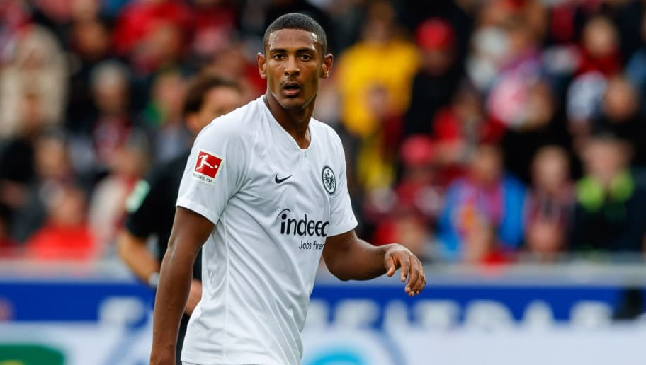 FREIBURG IM BREISGAU, GERMANY - AUGUST 25: Sebastien Haller of Eintracht Frankfurt looks on during the Bundesliga match between Sport-Club Freiburg and Eintracht Frankfurt at Schwarzwald-Stadion on August 25, 2018 in Freiburg im Breisgau, Germany. (Photo by TF-Images/Getty Images)