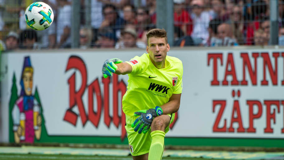 FREIBURG IM BREISGAU, GERMANY - MAY 12: #1 Goalkeeper Andreas Luthe of Augsburg in action during the Bundesliga match between Sport-Club Freiburg and FC Augsburg at Schwarzwald-Stadion on May 12, 2018 in Freiburg im Breisgau, Germany. (Photo by Robert Hradil/Bongarts/Getty Images)